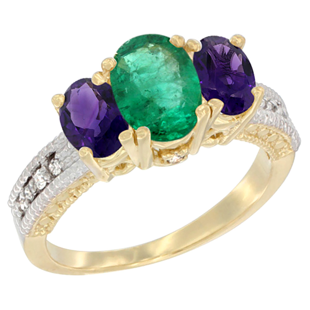 14K Yellow Gold Diamond Natural Emerald Ring Oval 3-stone with Amethyst, sizes 5 - 10