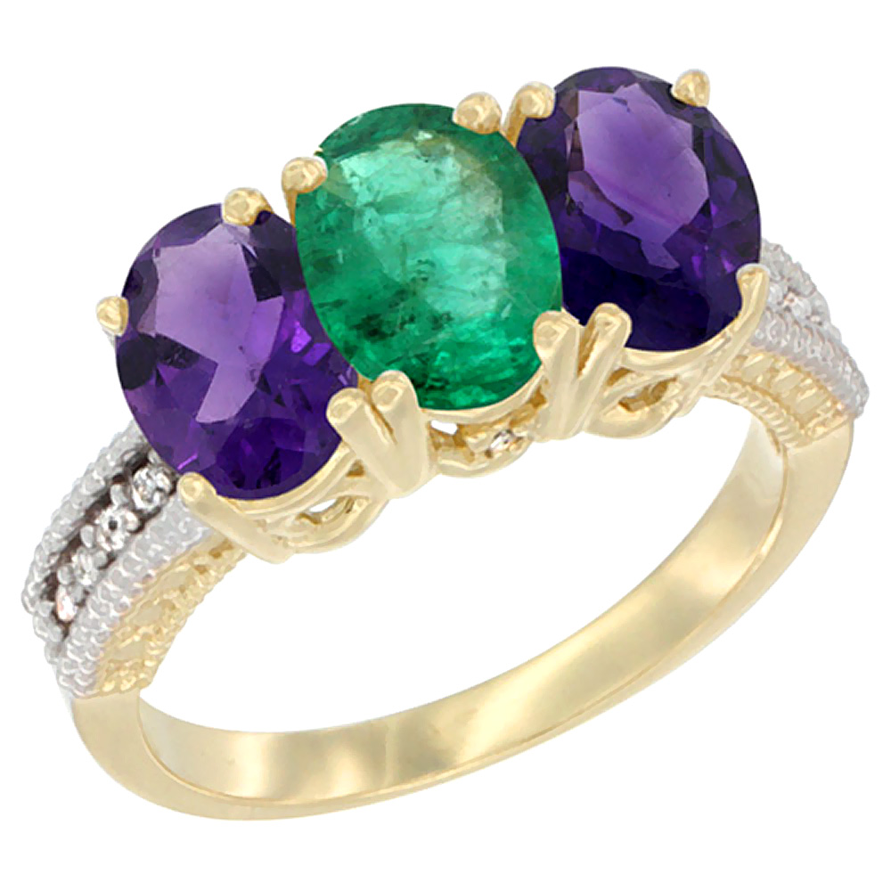 14K Yellow Gold Natural Emerald & Amethyst Ring 3-Stone 7x5 mm Oval Diamond Accent, sizes 5 - 10