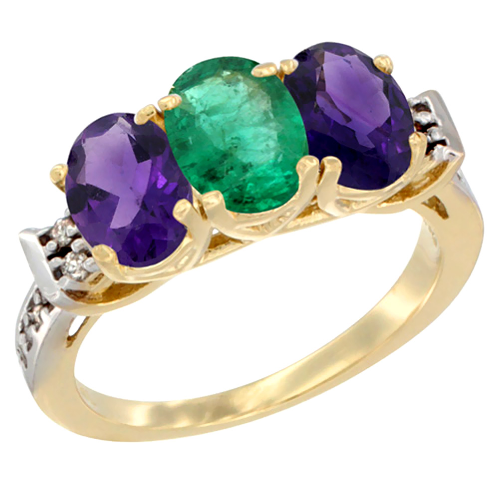 10K Yellow Gold Natural Emerald & Amethyst Sides Ring 3-Stone Oval 7x5 mm Diamond Accent, sizes 5 - 10