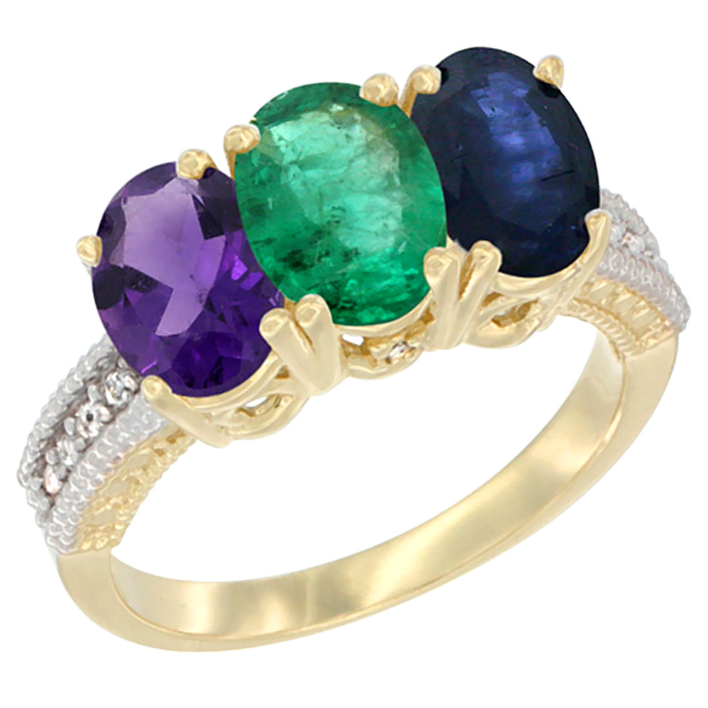 10K Yellow Gold Diamond Natural Amethyst, Emerald & Blue Sapphire Ring Oval 3-Stone 7x5 mm,sizes 5-10