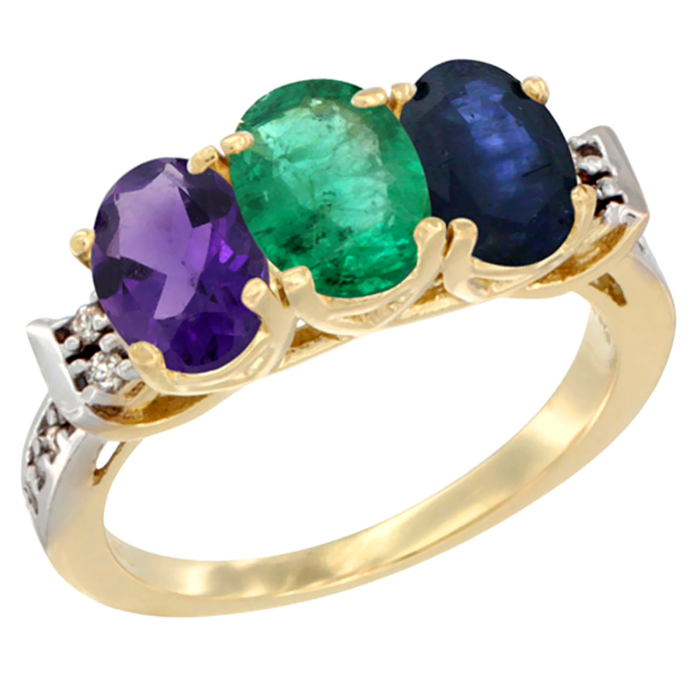 14K Yellow Gold Natural Amethyst, Emerald & Blue Sapphire Ring 3-Stone 7x5 mm Oval Diamond Accent, sizes 5 - 10