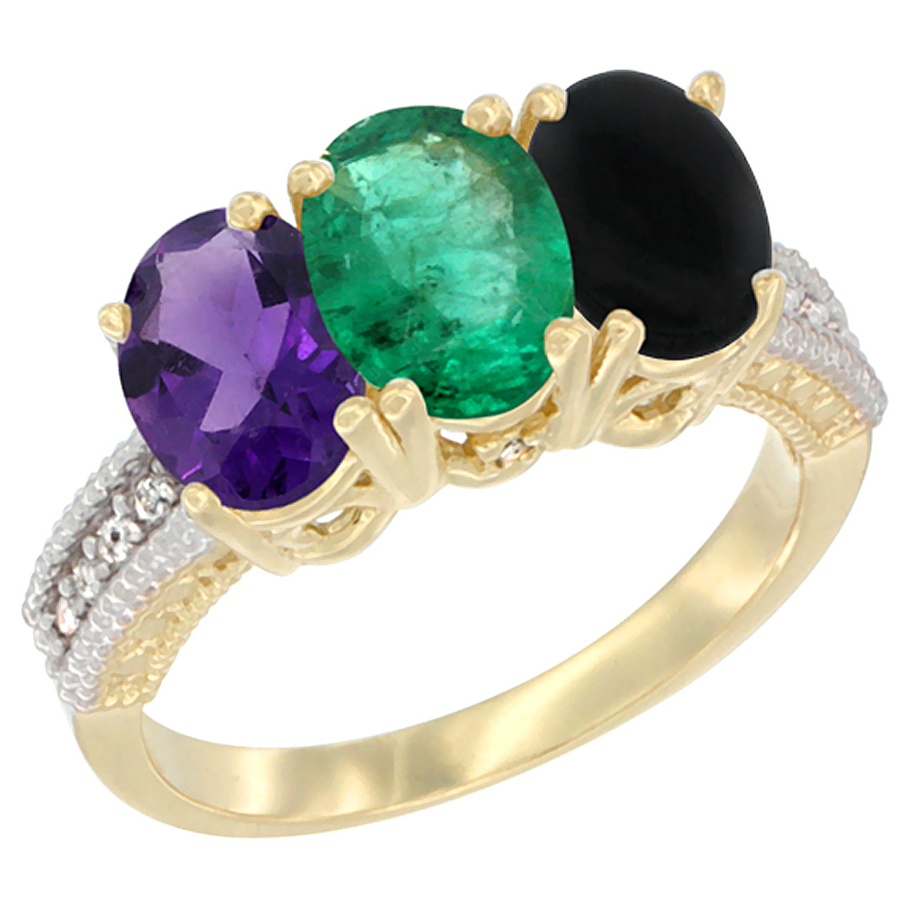 14K Yellow Gold Natural Amethyst, Emerald & Black Onyx Ring 3-Stone 7x5 mm Oval Diamond Accent, sizes 5 - 10
