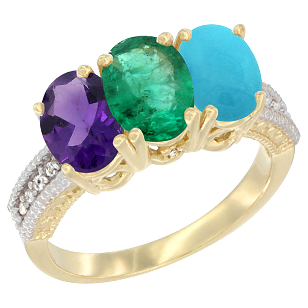10K Yellow Gold Diamond Natural Amethyst, Emerald & Turquoise Ring Oval 3-Stone 7x5 mm,sizes 5-10
