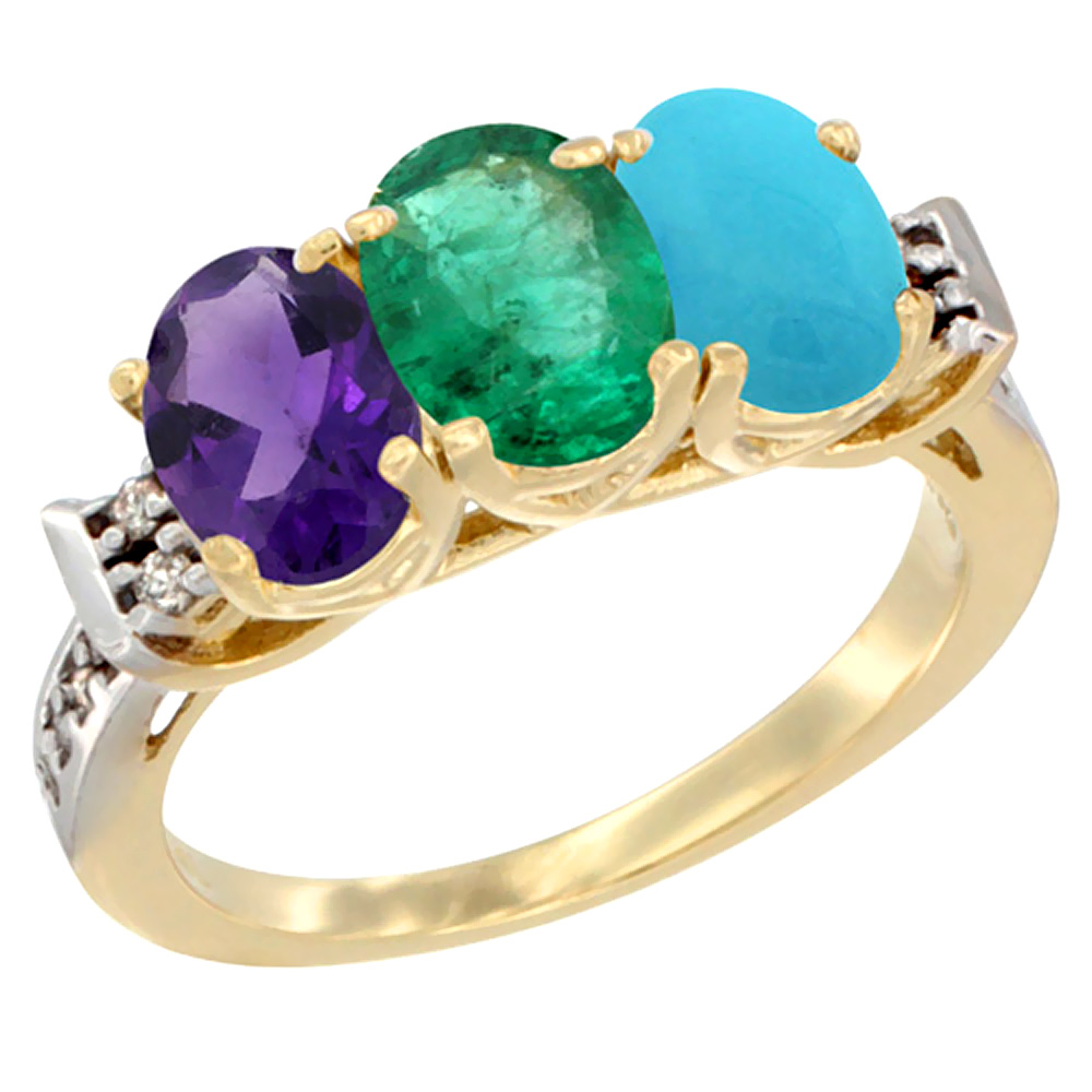 14K Yellow Gold Natural Amethyst, Emerald & Turquoise Ring 3-Stone 7x5 mm Oval Diamond Accent, sizes 5 - 10
