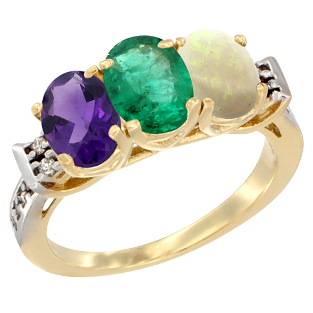 14K Yellow Gold Natural Amethyst, Emerald & Opal Ring 3-Stone 7x5 mm Oval Diamond Accent, sizes 5 - 10