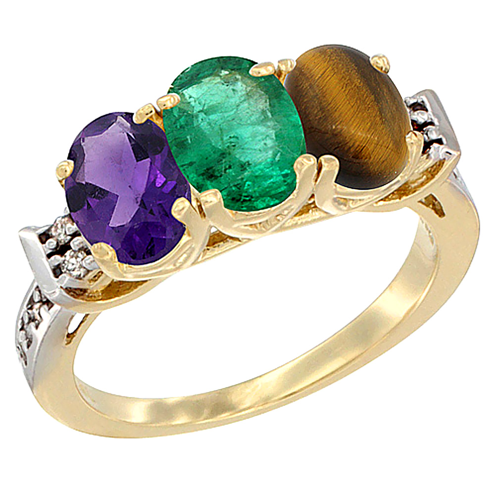 10K Yellow Gold Natural Amethyst, Emerald & Tiger Eye Ring 3-Stone Oval 7x5 mm Diamond Accent, sizes 5 - 10