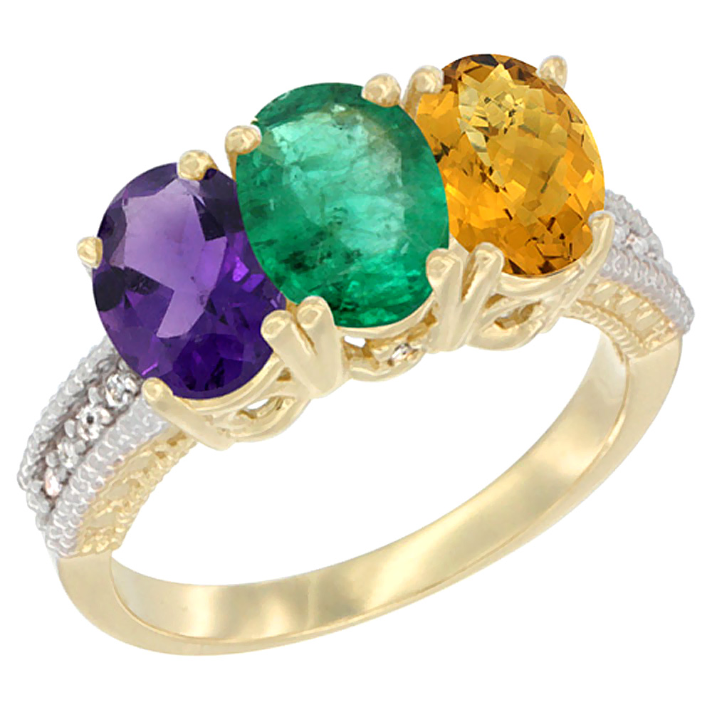 10K Yellow Gold Diamond Natural Amethyst, Emerald & Whisky Quartz Ring Oval 3-Stone 7x5 mm,sizes 5-10