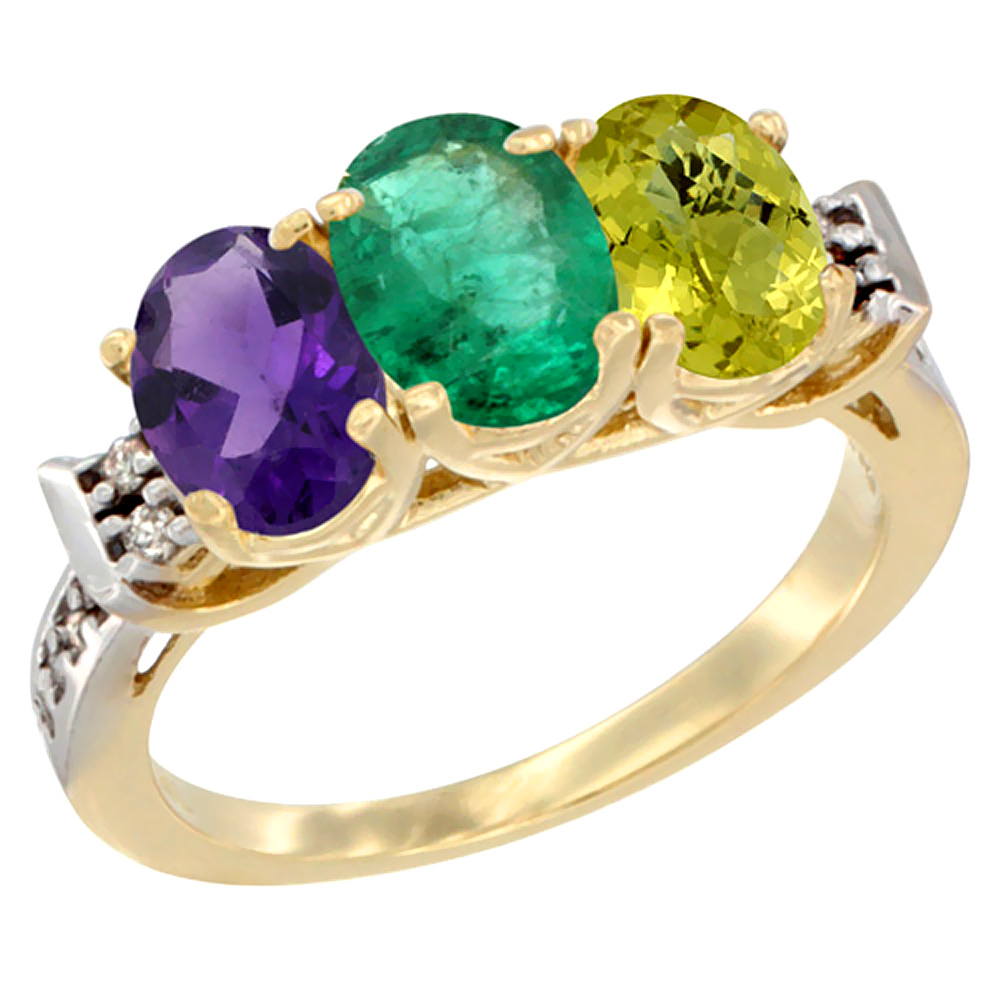 10K Yellow Gold Natural Amethyst, Emerald & Lemon Quartz Ring 3-Stone Oval 7x5 mm Diamond Accent, sizes 5 - 10