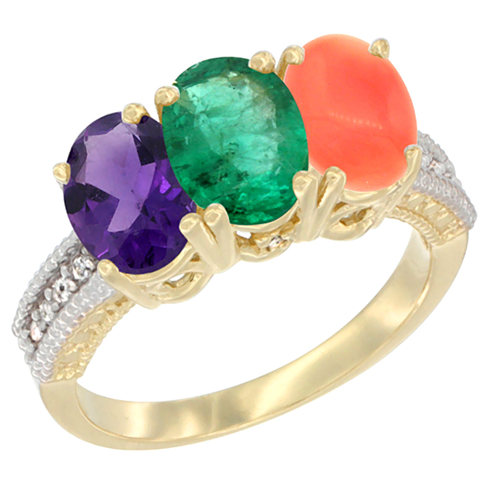 10K Yellow Gold Diamond Natural Amethyst, Emerald & Coral Ring Oval 3-Stone 7x5 mm,sizes 5-10