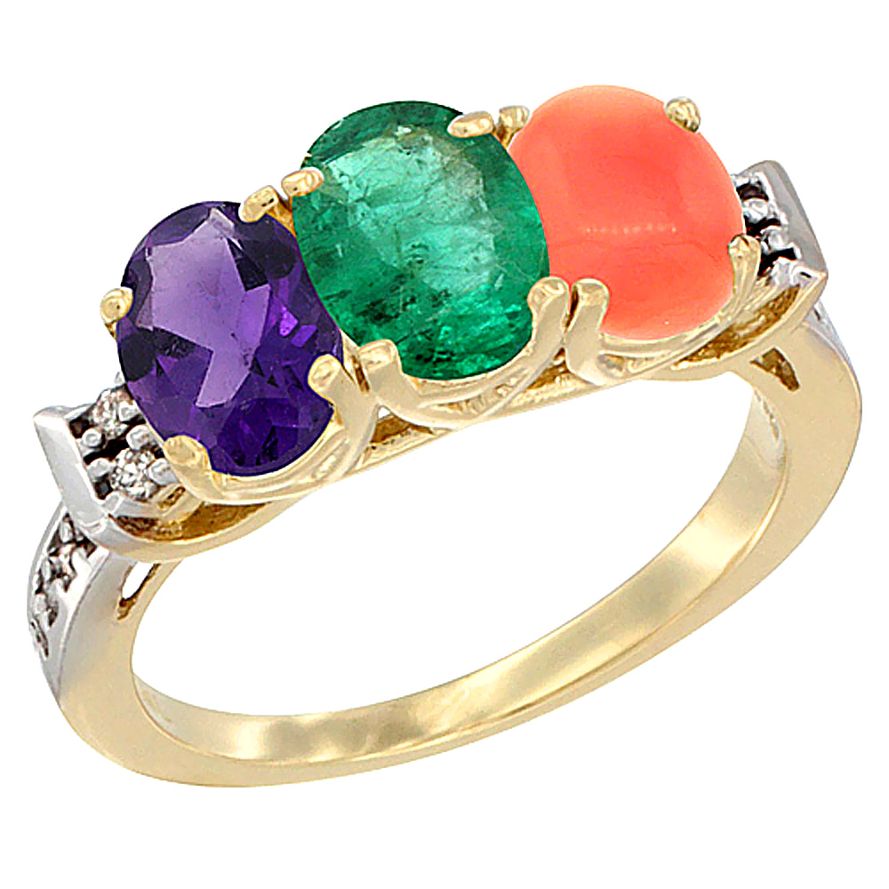 10K Yellow Gold Natural Amethyst, Emerald & Coral Ring 3-Stone Oval 7x5 mm Diamond Accent, sizes 5 - 10