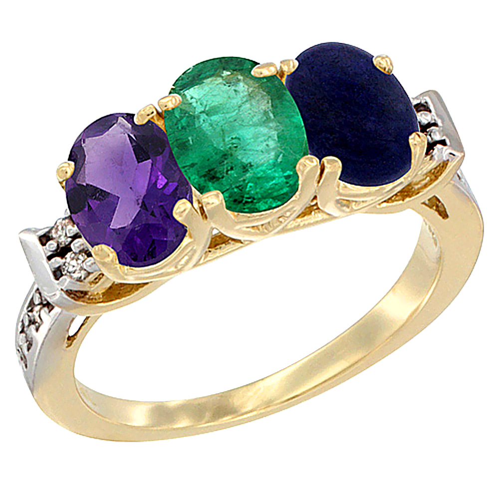 10K Yellow Gold Natural Amethyst, Emerald & Lapis Ring 3-Stone Oval 7x5 mm Diamond Accent, sizes 5 - 10