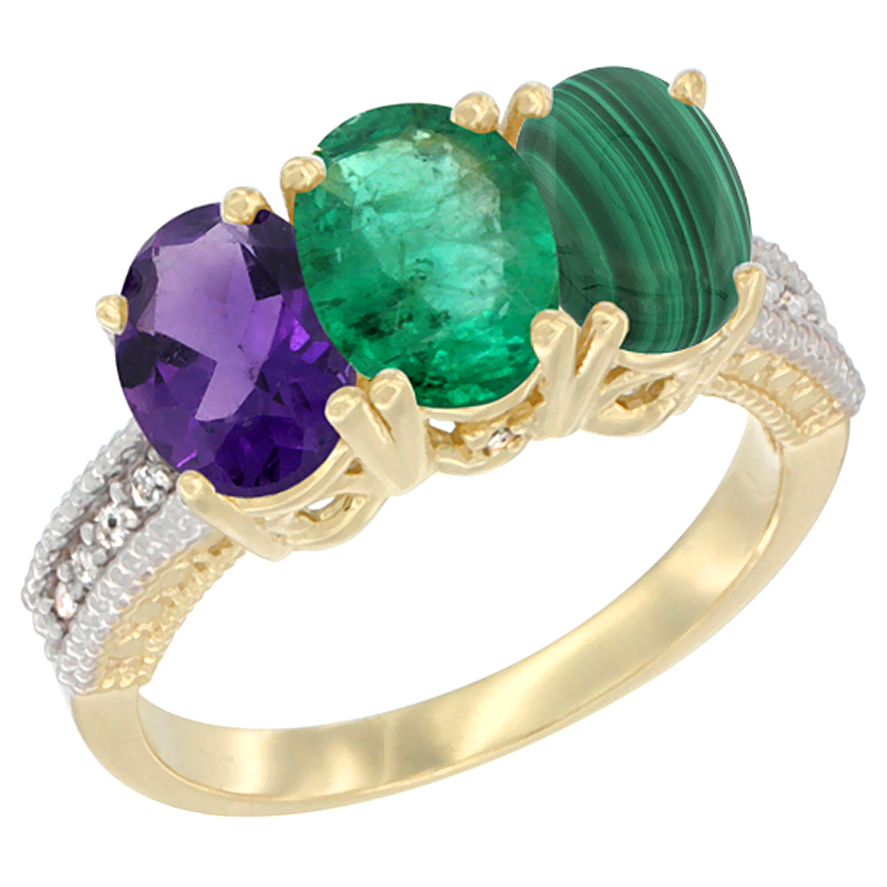 10K Yellow Gold Diamond Natural Amethyst, Emerald & Malachite Ring Oval 3-Stone 7x5 mm,sizes 5-10