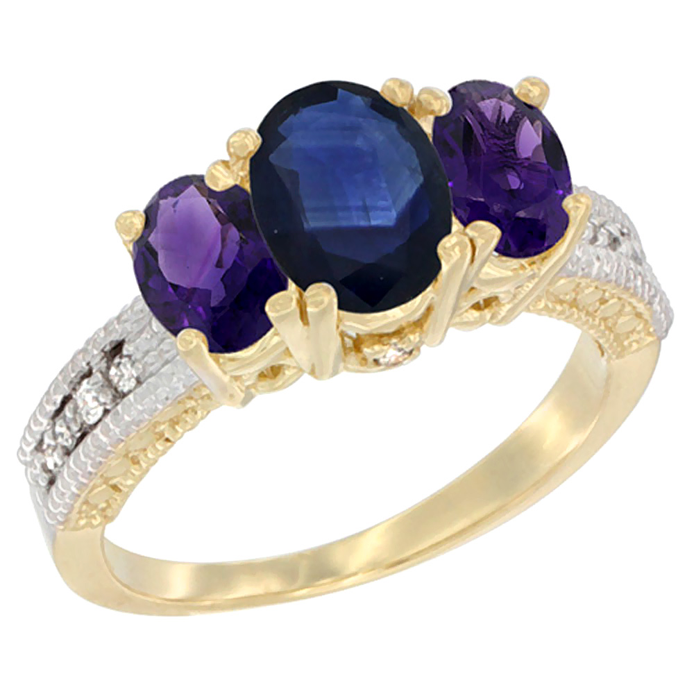 10K Yellow Gold Ladies Oval Natural Blue Sapphire Ring 3-stone with Amethyst Sides Diamond Accent