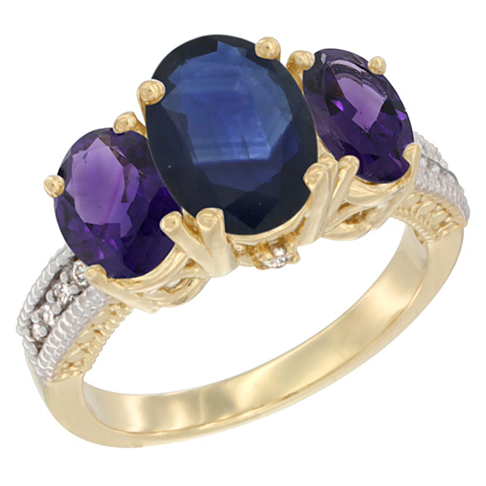 14K Yellow Gold Natural Blue Sapphire Ring Ladies 3-Stone Oval 8x6mm with Amethyst Sides Diamond Accent, sizes 5 - 10