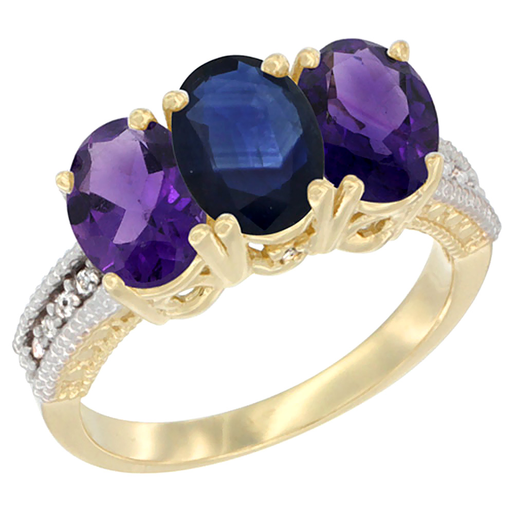 10K Yellow Gold Diamond Natural Blue Sapphire & Amethyst Ring Oval 3-Stone 7x5 mm,sizes 5-10