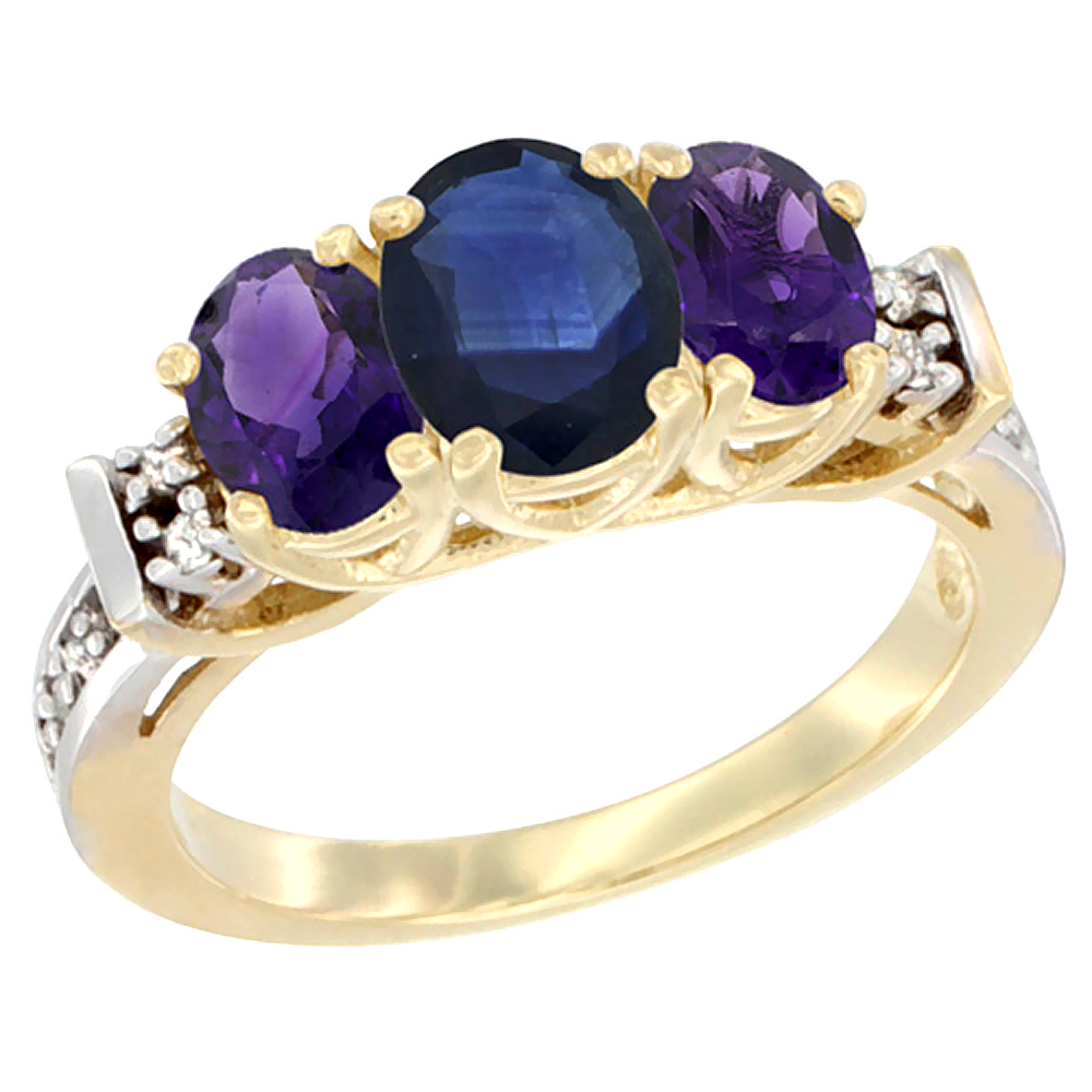 14K Yellow Gold Natural Blue Sapphire & Amethyst Ring 3-Stone Oval Diamond Accent