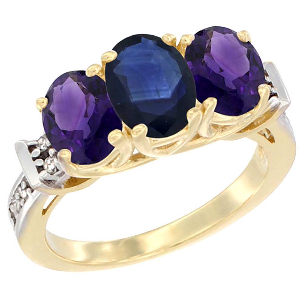 14K Yellow Gold Natural Blue Sapphire & Amethyst Sides Ring 3-Stone Oval Diamond Accent, sizes 5 - 10