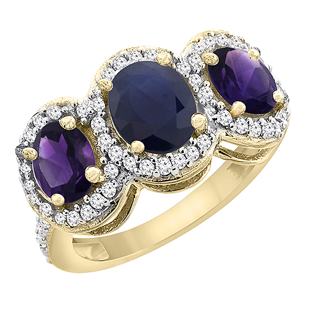 10K Yellow Gold Natural Blue Sapphire & Amethyst 3-Stone Ring Oval Diamond Accent, sizes 5 - 10