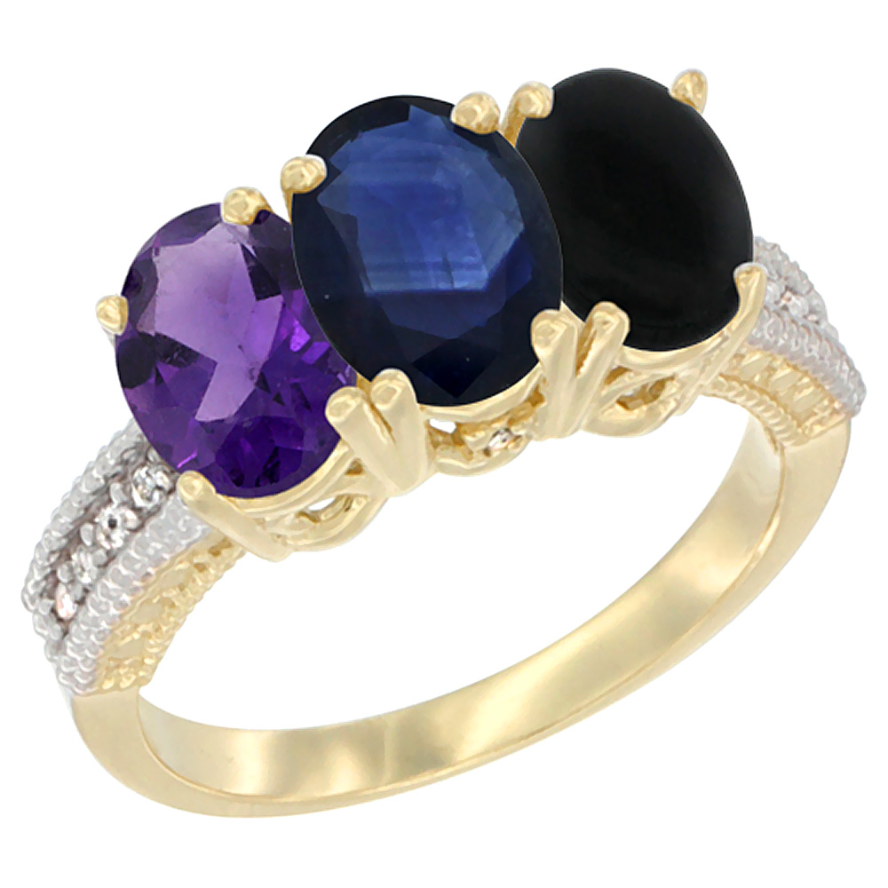 14K Yellow Gold Natural Amethyst, Blue Sapphire & Black Onyx Ring 3-Stone 7x5 mm Oval Diamond Accent, sizes 5 - 10