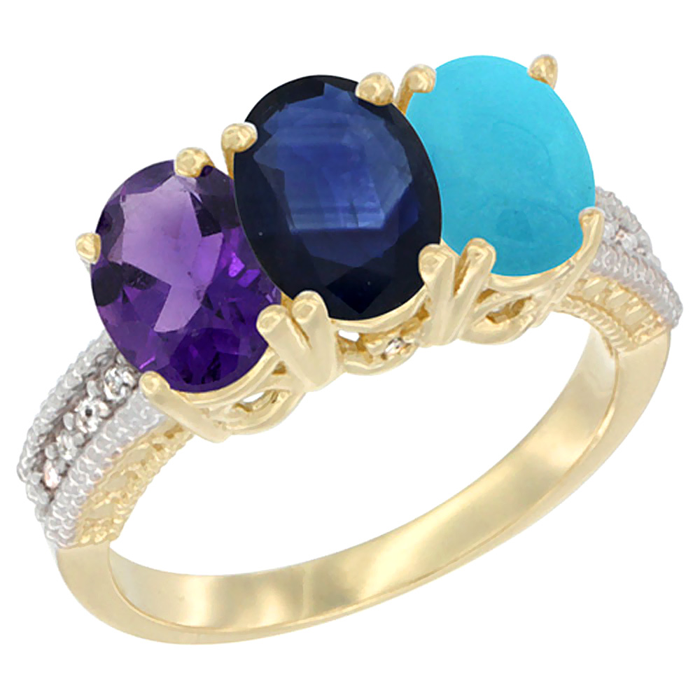 14K Yellow Gold Natural Amethyst, Blue Sapphire & Turquoise Ring 3-Stone 7x5 mm Oval Diamond Accent, sizes 5 - 10