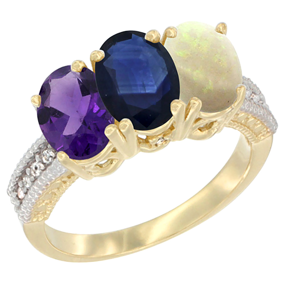 14K Yellow Gold Natural Amethyst, Blue Sapphire & Opal Ring 3-Stone 7x5 mm Oval Diamond Accent, sizes 5 - 10