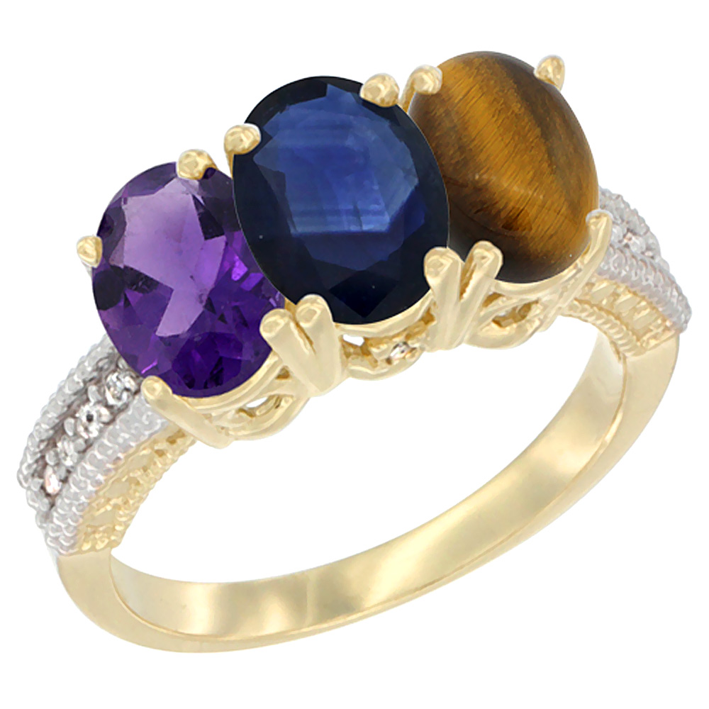 10K Yellow Gold Diamond Natural Amethyst, Blue Sapphire & Tiger Eye Ring Oval 3-Stone 7x5 mm,sizes 5-10
