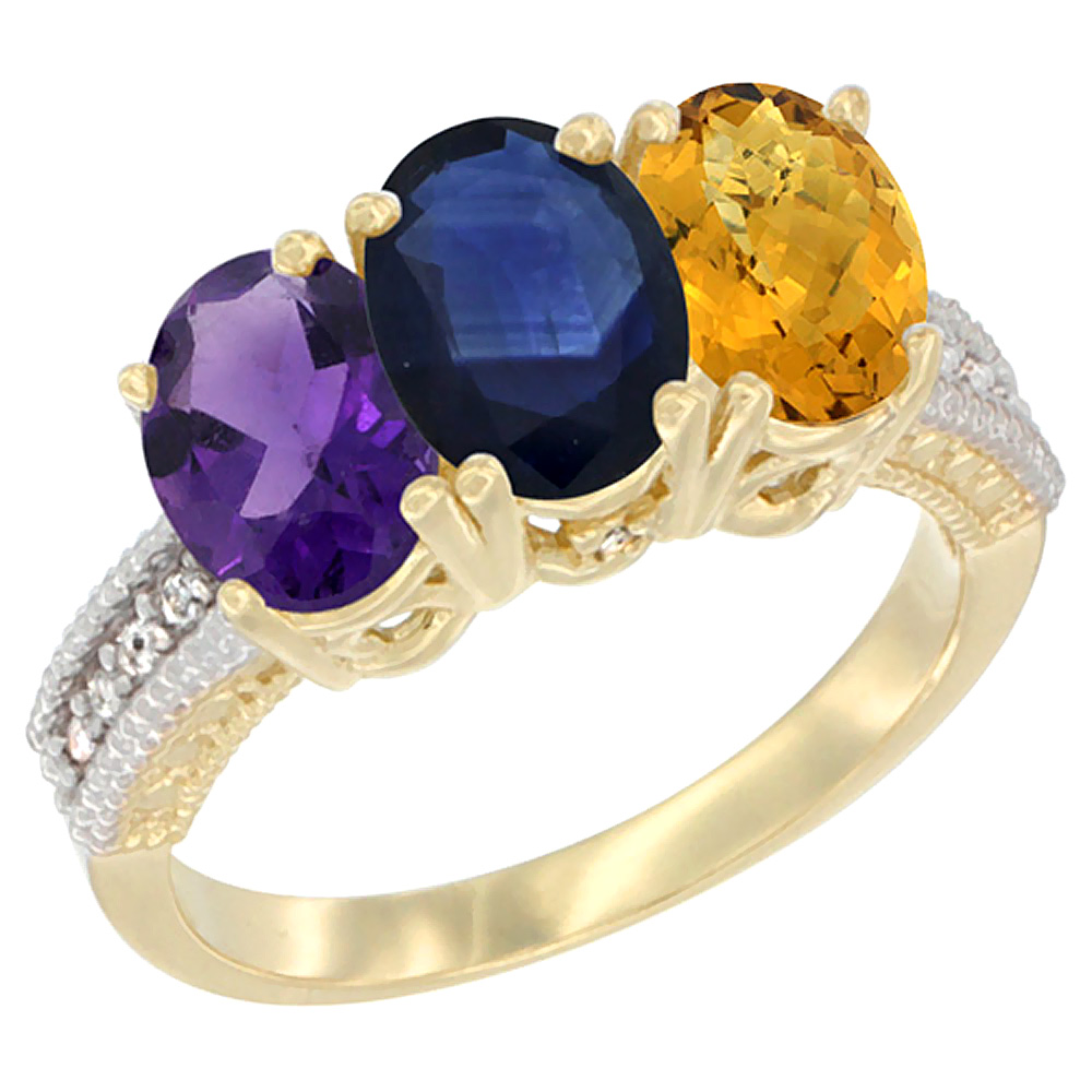 10K Yellow Gold Diamond Natural Amethyst, Blue Sapphire & Whisky Quartz Ring Oval 3-Stone 7x5 mm,sizes 5-10