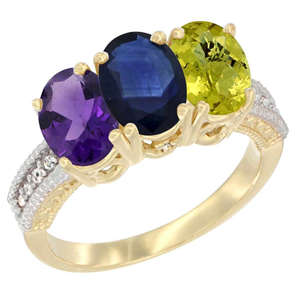 10K Yellow Gold Diamond Natural Amethyst, Blue Sapphire & Lemon Quartz Ring Oval 3-Stone 7x5 mm,sizes 5-10