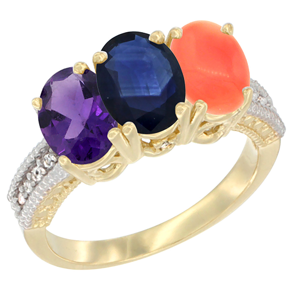 14K Yellow Gold Natural Amethyst, Blue Sapphire & Coral Ring 3-Stone 7x5 mm Oval Diamond Accent, sizes 5 - 10