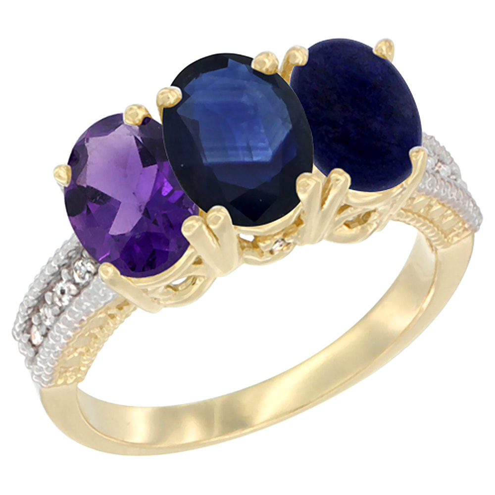 10K Yellow Gold Diamond Natural Amethyst, Blue Sapphire & Lapis Ring Oval 3-Stone 7x5 mm,sizes 5-10