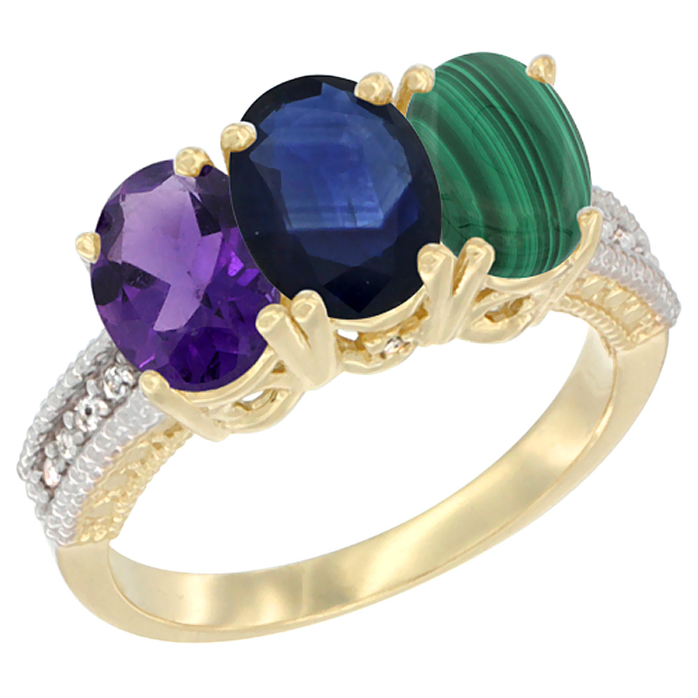 14K Yellow Gold Natural Amethyst, Blue Sapphire & Malachite Ring 3-Stone 7x5 mm Oval Diamond Accent, sizes 5 - 10