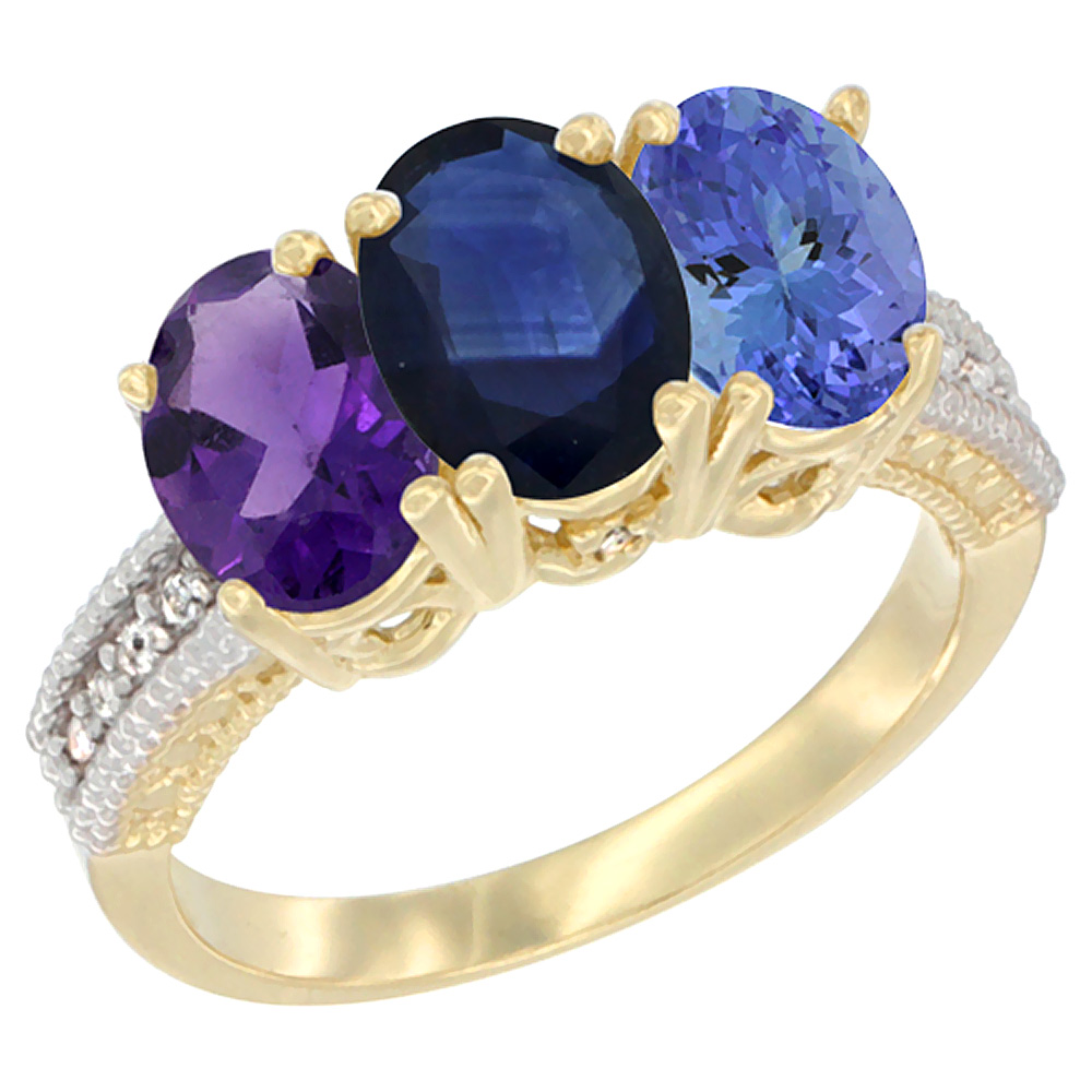 10K Yellow Gold Diamond Natural Amethyst, Blue Sapphire & Tanzanite Ring Oval 3-Stone 7x5 mm,sizes 5-10