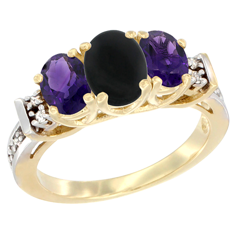 14K Yellow Gold Natural Black Onyx & Amethyst Ring 3-Stone Oval Diamond Accent