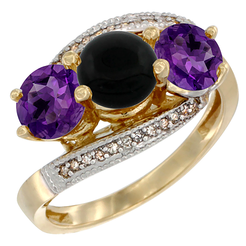 10K Yellow Gold Natural Black Onyx & Amethyst Sides 3 stone Ring Round 6mm Diamond Accent, sizes 5 - 10