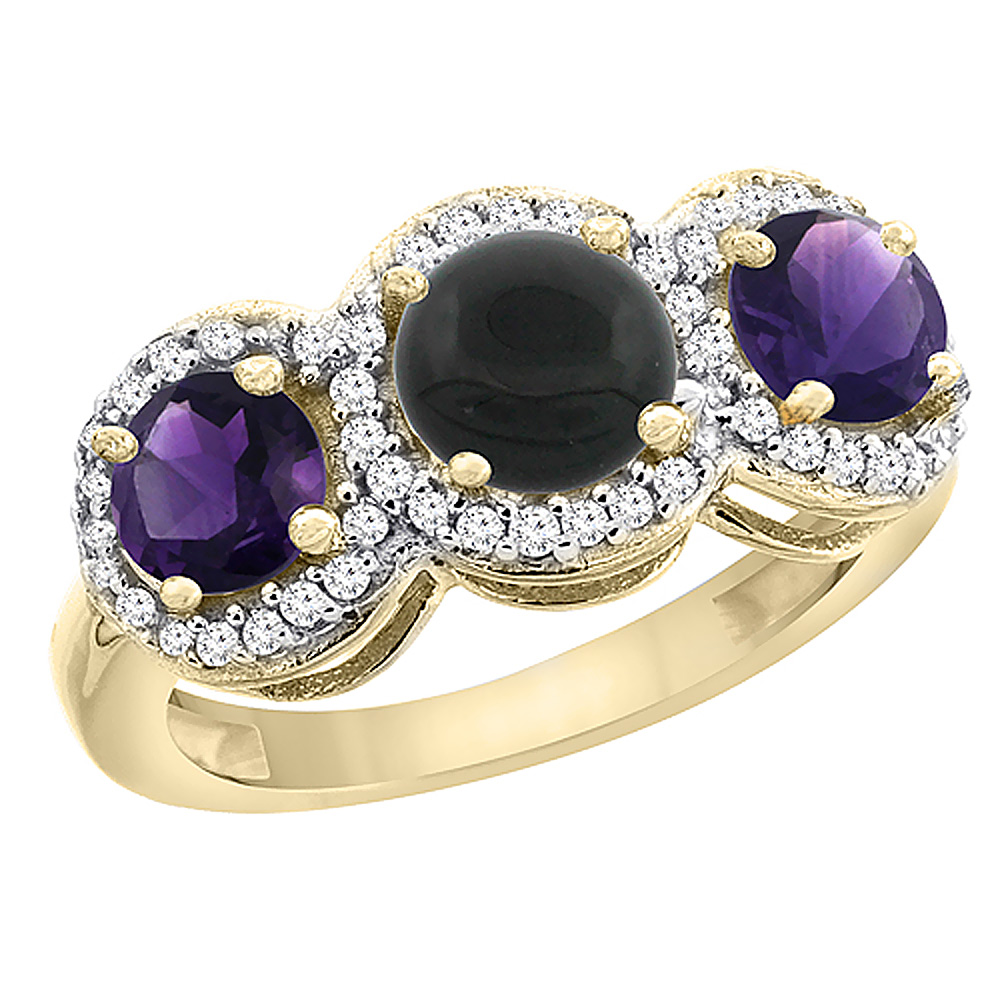 10K Yellow Gold Natural Black Onyx & Amethyst Sides Round 3-stone Ring Diamond Accents, sizes 5 - 10