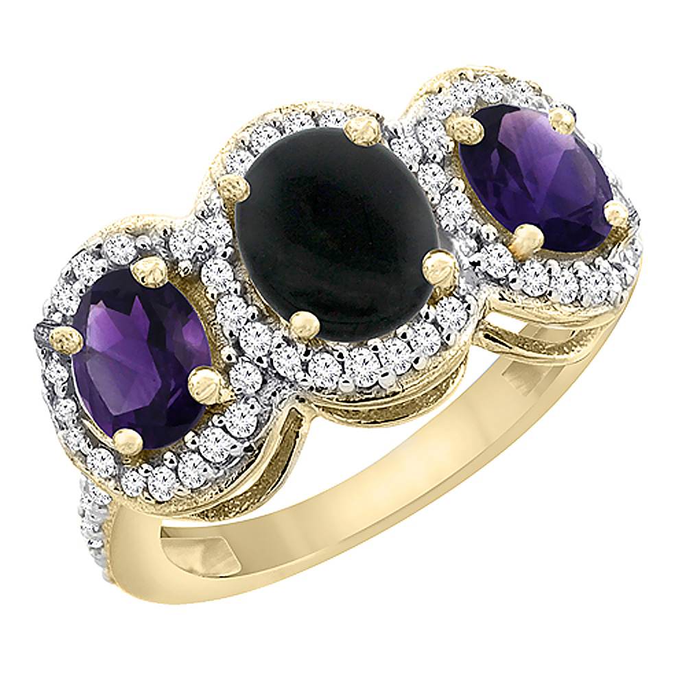 14K Yellow Gold Natural Black Onyx & Amethyst 3-Stone Ring Oval Diamond Accent, sizes 5 - 10