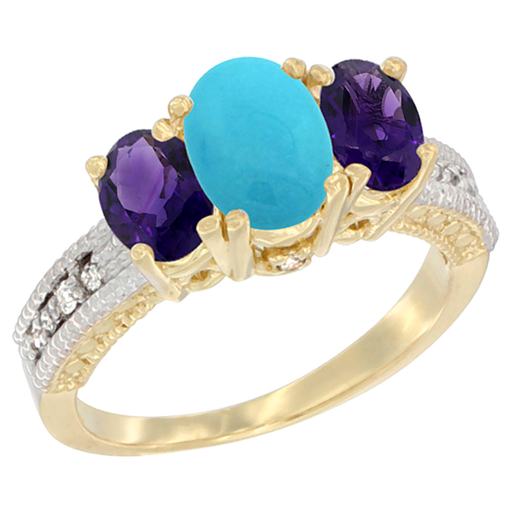 10K Yellow Gold Ladies Oval Natural Turquoise Ring 3-stone with Amethyst Sides Diamond Accent