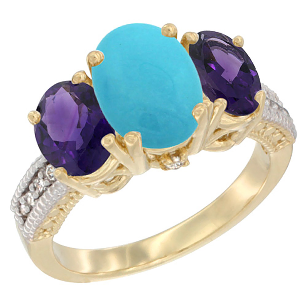 10K Yellow Gold Natural Turquoise Ring Ladies 3-Stone Oval 8x6mm with Amethyst Sides Diamond Accent, sizes 5 - 10
