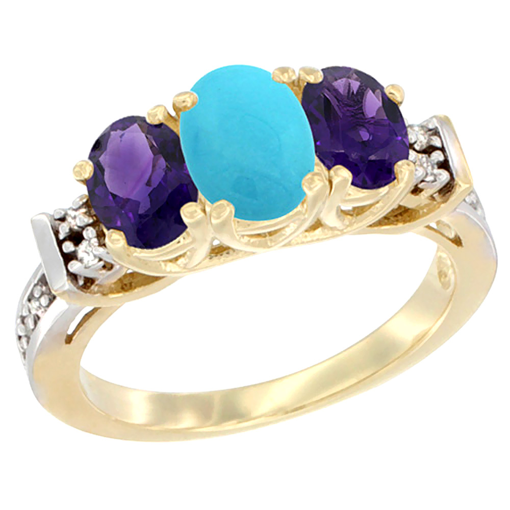 14K Yellow Gold Natural Turquoise & Amethyst Ring 3-Stone Oval Diamond Accent