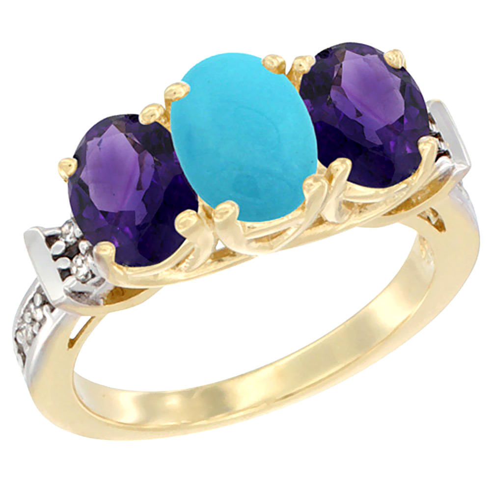 14K Yellow Gold Natural Turquoise & Amethyst Sides Ring 3-Stone Oval Diamond Accent, sizes 5 - 10
