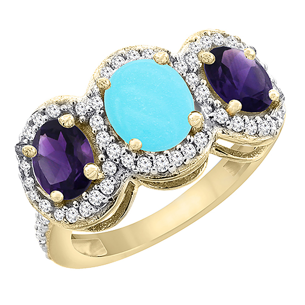 14K Yellow Gold Natural Turquoise & Amethyst 3-Stone Ring Oval Diamond Accent, sizes 5 - 10