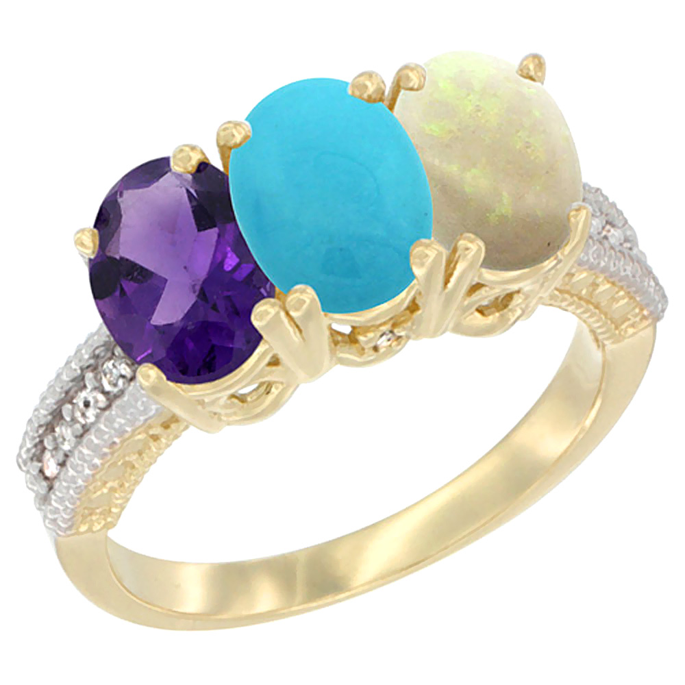 10K Yellow Gold Diamond Natural Amethyst, Turquoise & Opal Ring Oval 3-Stone 7x5 mm,sizes 5-10