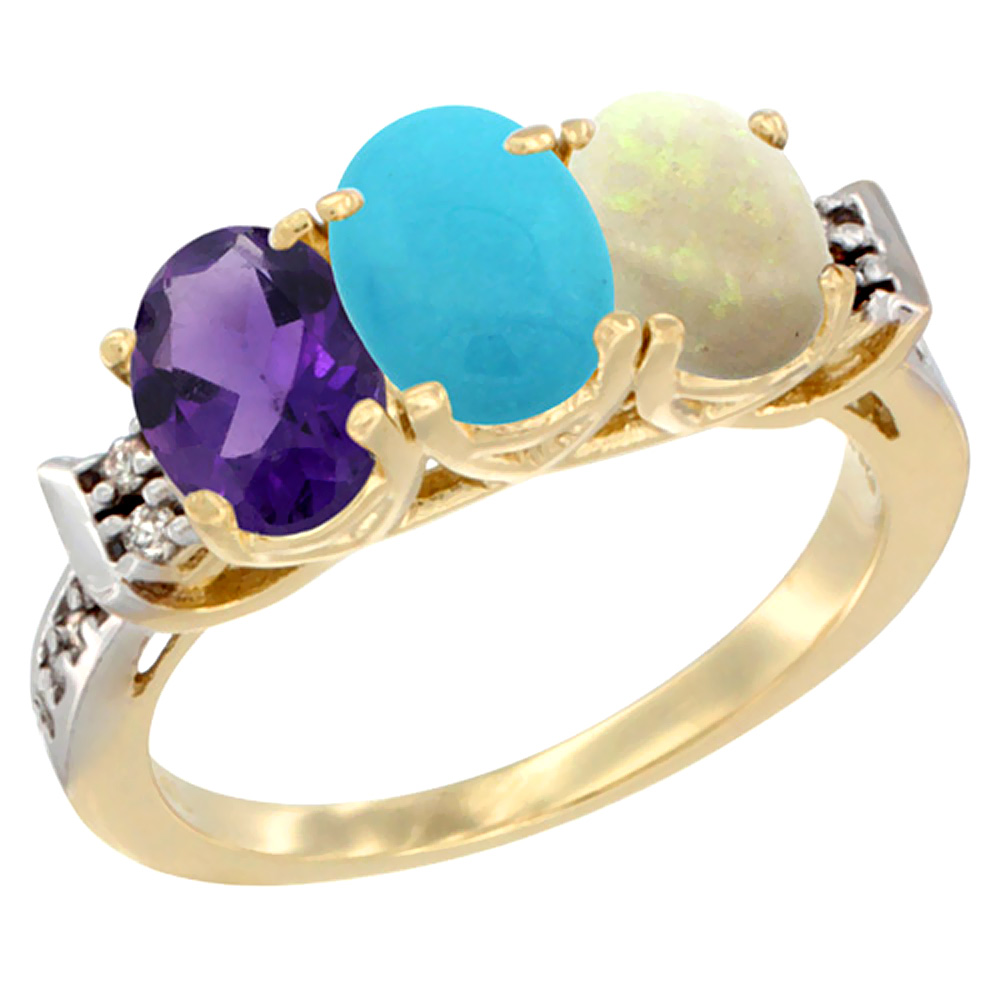 14K Yellow Gold Natural Amethyst, Turquoise & Opal Ring 3-Stone 7x5 mm Oval Diamond Accent, sizes 5 - 10