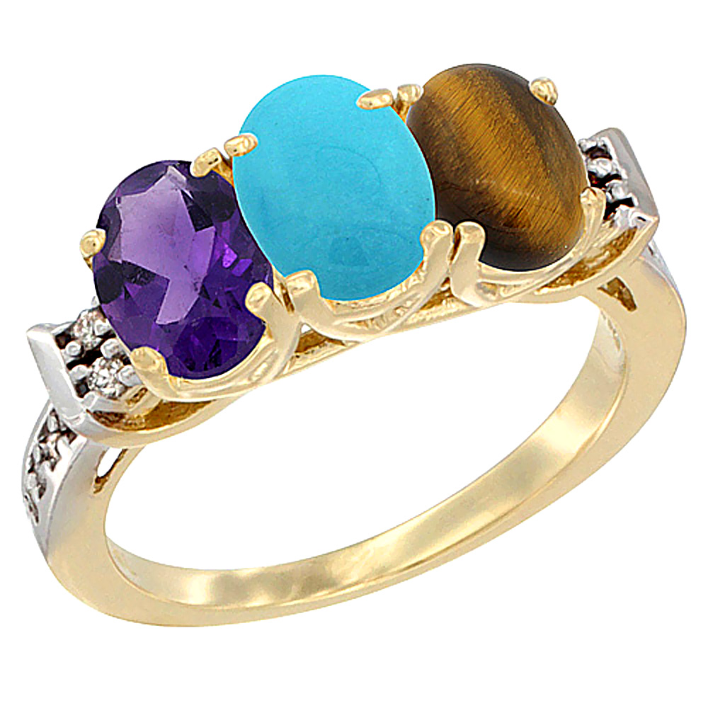 14K Yellow Gold Natural Amethyst, Turquoise & Tiger Eye Ring 3-Stone 7x5 mm Oval Diamond Accent, sizes 5 - 10
