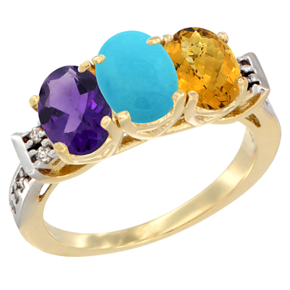 10K Yellow Gold Natural Amethyst, Turquoise & Whisky Quartz Ring 3-Stone Oval 7x5 mm Diamond Accent, sizes 5 - 10
