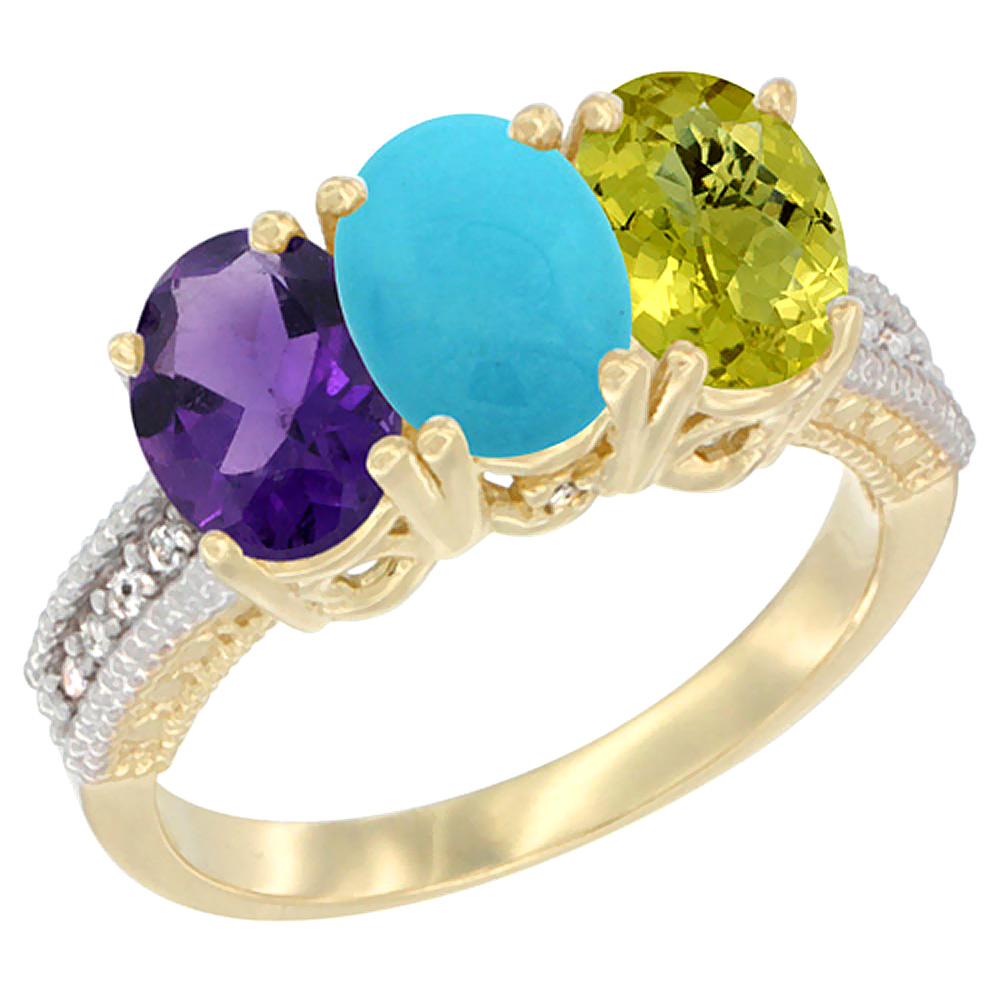 10K Yellow Gold Diamond Natural Amethyst, Turquoise & Lemon Quartz Ring Oval 3-Stone 7x5 mm,sizes 5-10