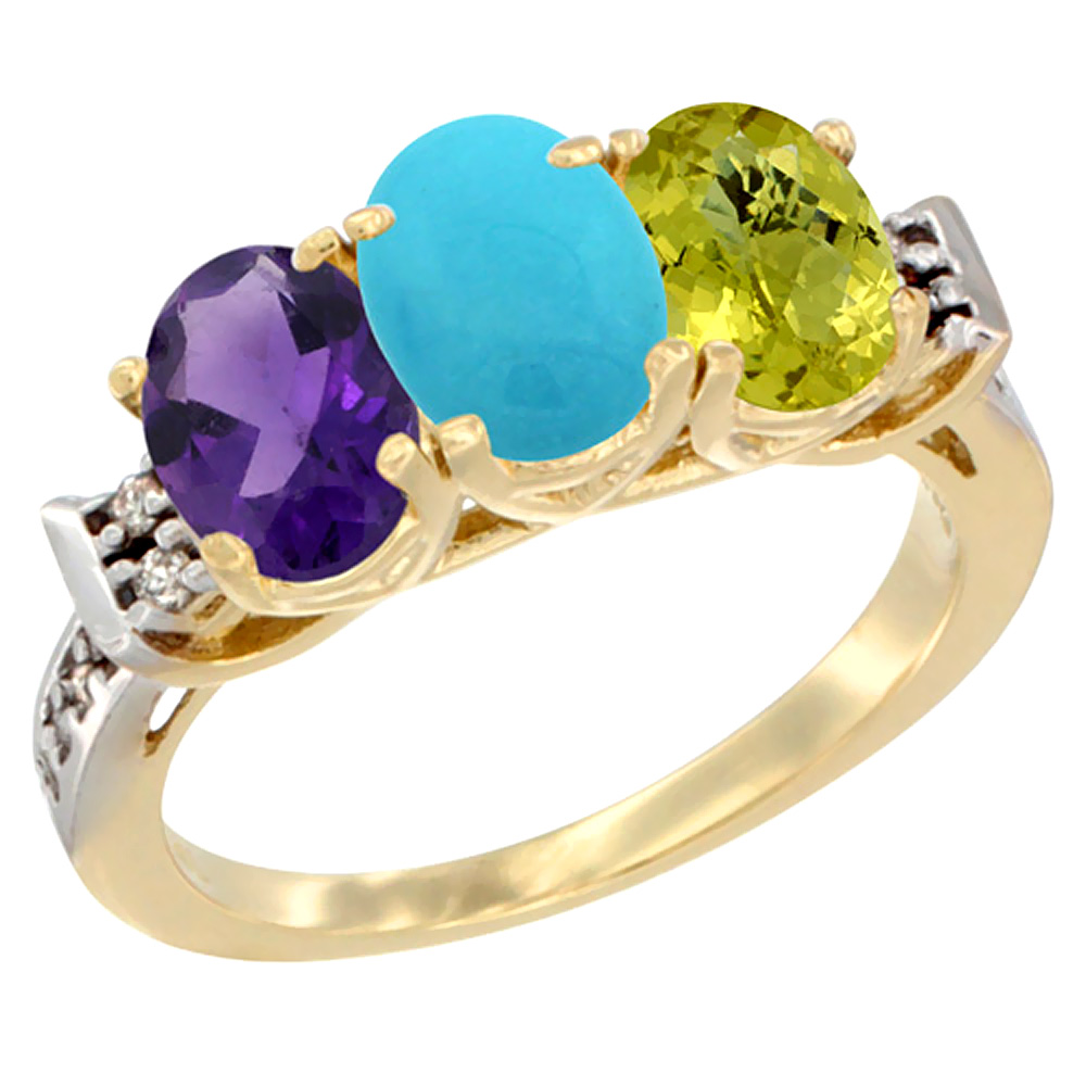 14K Yellow Gold Natural Amethyst, Turquoise & Lemon Quartz Ring 3-Stone 7x5 mm Oval Diamond Accent, sizes 5 - 10