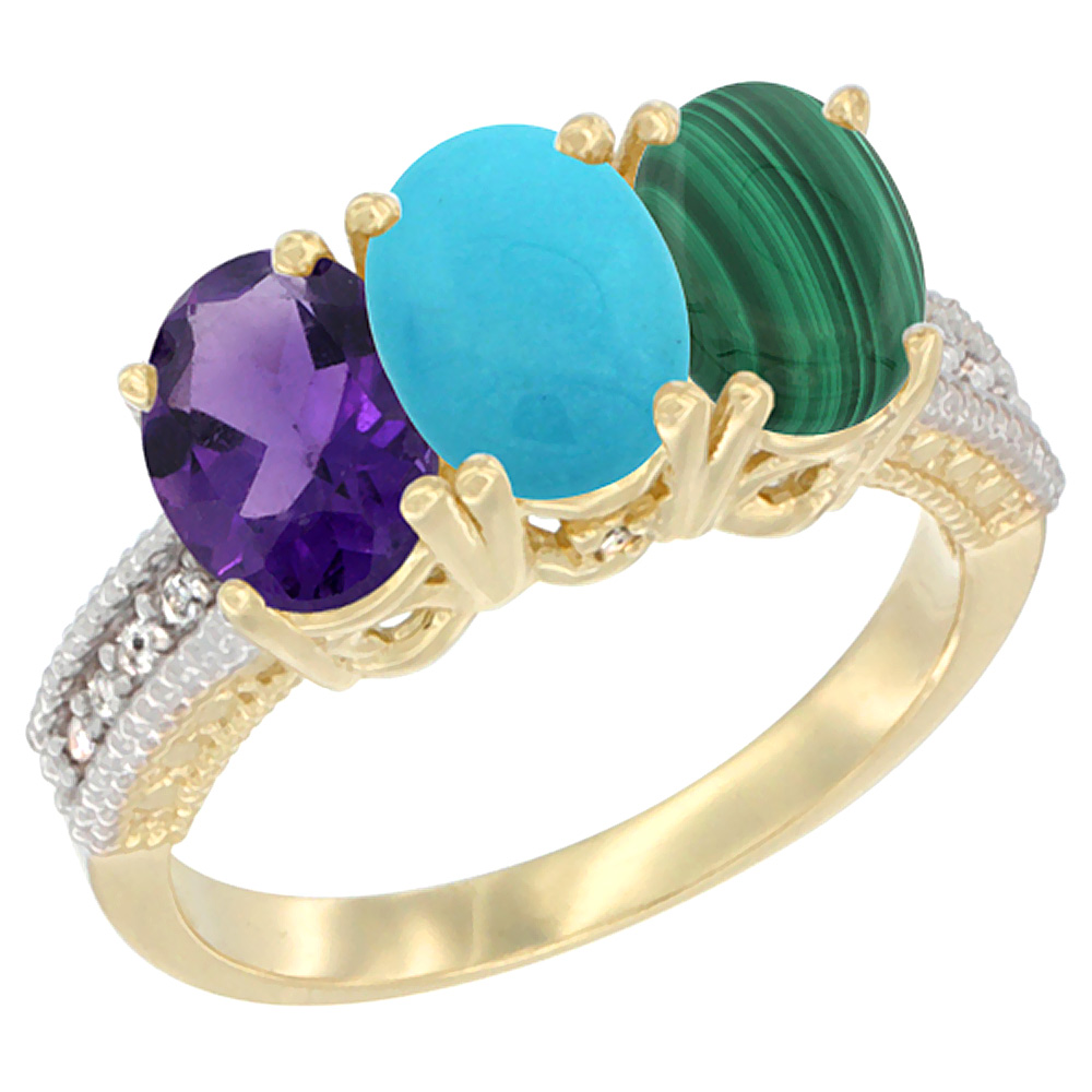 14K Yellow Gold Natural Amethyst, Turquoise & Malachite Ring 3-Stone 7x5 mm Oval Diamond Accent, sizes 5 - 10