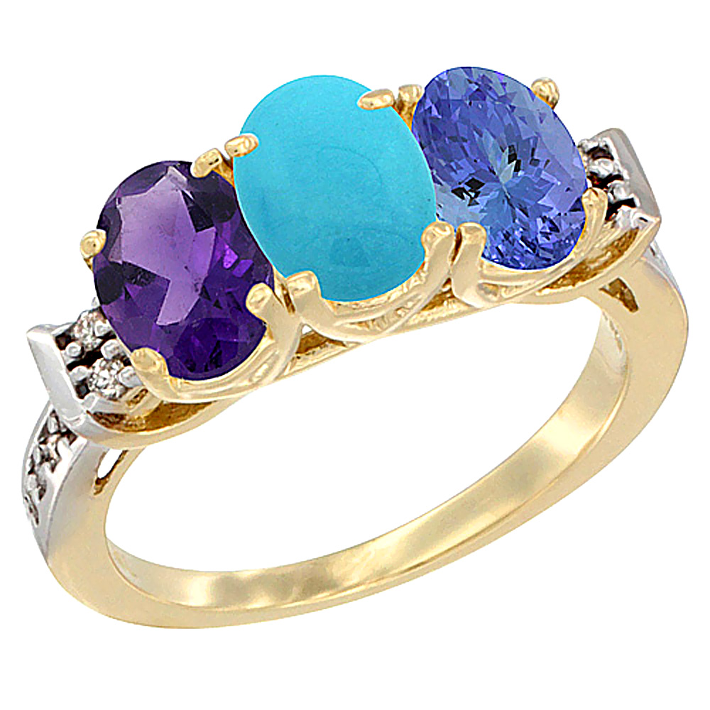 14K Yellow Gold Natural Amethyst, Turquoise & Tanzanite Ring 3-Stone 7x5 mm Oval Diamond Accent, sizes 5 - 10