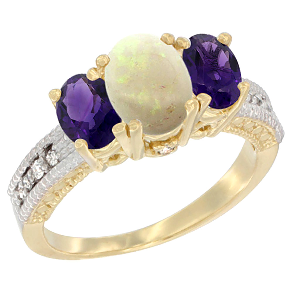 10K Yellow Gold Ladies Oval Natural Opal Ring 3-stone with Amethyst Sides Diamond Accent